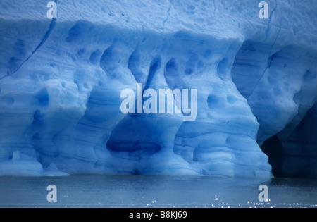 Eisformationen auf das Gesicht von Grey Gletscher, Torres del Paine Nationalpark, Patagonien, Chile - Stockfoto