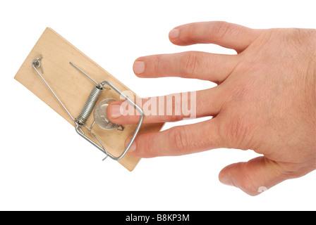 Hand und Mausefalle - Stockfoto