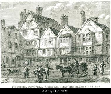Pie Ecke Smithfield waren, dass das Feuer seine Grenzen Hof quadratische Warenkorb Esel Menschen Gebäude gepflasterte - Stockfoto