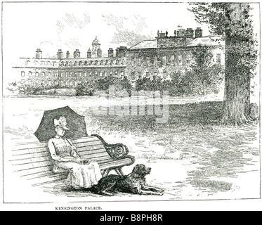 Kensington Palace Park Gartenbank Frau Zeitraum Kleid Hund Haustier zu Fuß sitzen Sommer königlichen außerhalb Stadt - Stockfoto