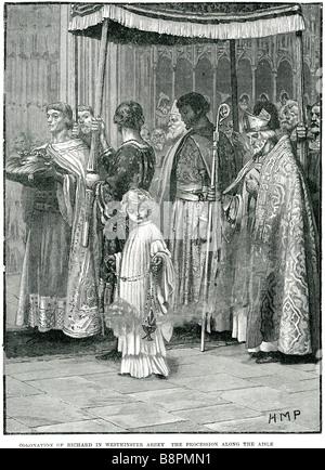Krönung von Richard in der Westminster Abbey die Prozession entlang der Insel Richard war ich (8 September 1157 - Stockfoto