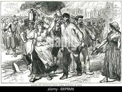 Randalierer Petroleuses feuern Gebäude in Paris 1871 Versaillern Truppen Erdöl paraffin - Stockfoto