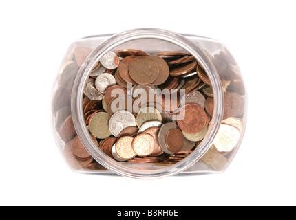 Topf mit englischer Sprache Geld im studio - Stockfoto