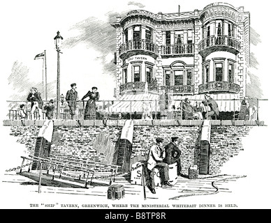 Schiff Taverne Greenwich ministeriellen Sardellenfang Dinner ist 1894 Pub statt. - Stockfoto