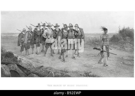 Der Marsch der Miles Standish englischen militärischen G H Boughton Maler G C Finden Stecher - Stockfoto