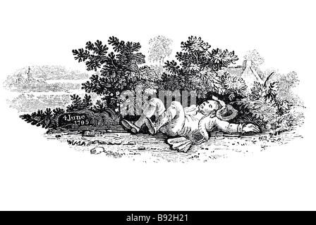 ein Reisender trinken Bewässerung alten Miller liegen schlafende Büschen hinter betrunken betrunken Datum Stein - Stockfoto