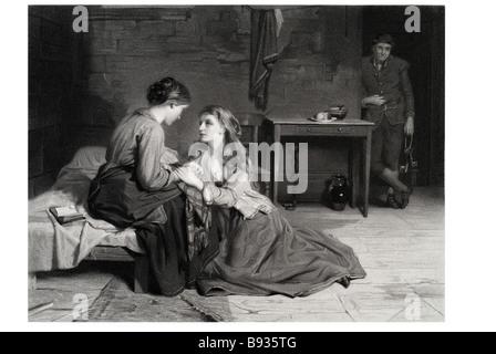 das Interview zwischen Effie Deans und ihre Schwester im Gefängnis Zeit kleiden Gefangener gefangen Frau Lady Zelle - Stockfoto