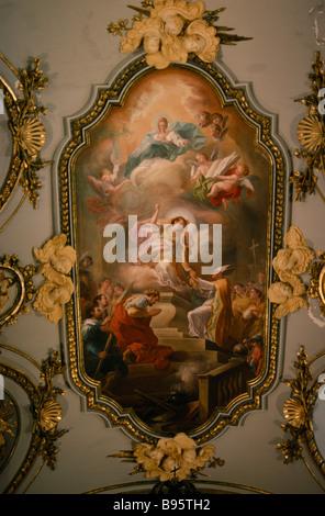 Spanien Castilla Leon Segovia Königspalast oder La Granja de San Ildefonso. Innenansicht des gemalten religiöse - Stockfoto