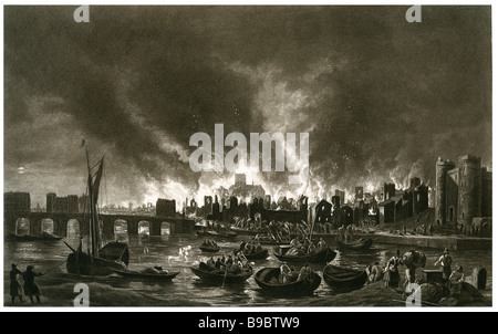 Großer Brand von London 1666 England mittelalterliche Stadt - Stockfoto