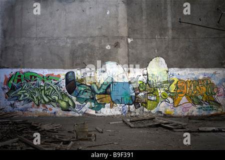 Graffiti in einer Brownfield Site Fabrik (Vichy - Allier - Frankreich). Graffiti Dans Une Usine Désaffectée (Vichy - Stockfoto