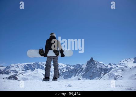 snowboarder am berg stockfoto bild 8574907 alamy. Black Bedroom Furniture Sets. Home Design Ideas