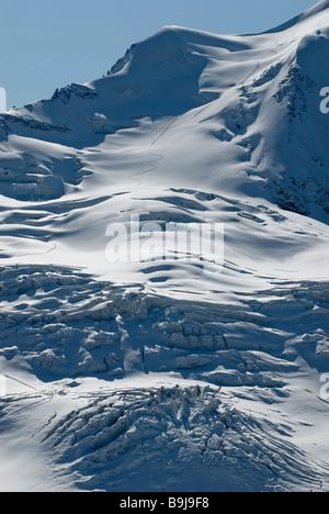 Vergletscherten Hang auf dem Berg Piz palue, 3900 Meter über dem Meeresspiegel, in der Berninagruppe, Bündner Alpen, - Stockfoto