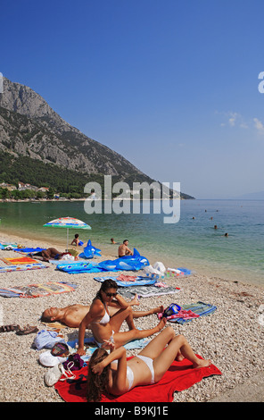Kroatien, Dalmatien, dalmatinische Küste, Gradac, Strand - Stockfoto
