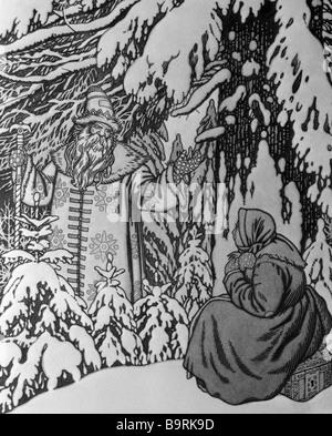 Reproduktion einer Zeichnung von Ivan Yakovlevich Bilibin, Morozko alten russischen Märchen - Stockfoto