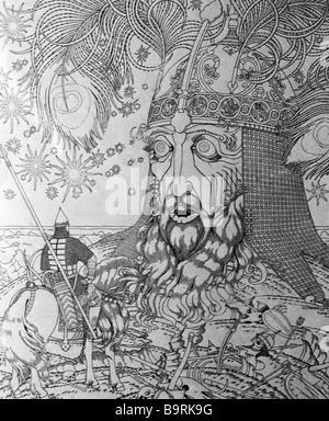 Reproduktion einer Zeichnung von Ivan Yakovlevich Bilibin, Alexander Pushkin s Ruslan und Ljudmila - Stockfoto
