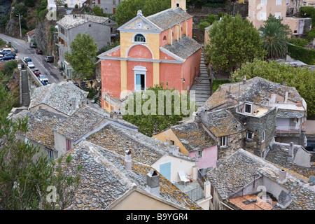 Blick vom Aussichtsturm über das Dorf Nonza Cap Corse Korsika Frankreich - Stockfoto