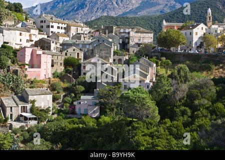 Blick auf das Dorf Nonza Cap Corse Korsika Frankreich - Stockfoto