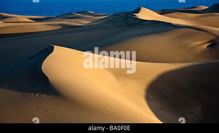 Sanddünen auf Küste Maspalomas Gran Canaria Spanien - Stockfoto
