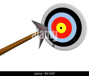 Abbildung eines Zieles durch einen Pfeil zu treffen - Stockfoto