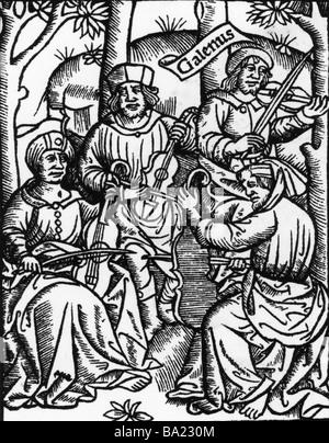 Plato, 427-347 v. Chr., griechischer Philosoph, Ganzkörperansicht, mittelalterlichen Holzschnitt, Moral, Philosophie, - Stockfoto