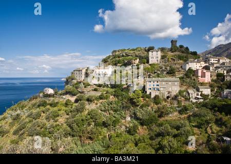 Die Klippe Dorf Nonza Cap Corse Korsika Frankreich - Stockfoto