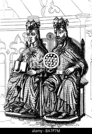 Otto I. 'der Große', 23.11.912 - 7.5.973, Heiliger römischer Kaiser 2.2.962 - 7.5.973, mit Frau Editha, Skulptur, - Stockfoto