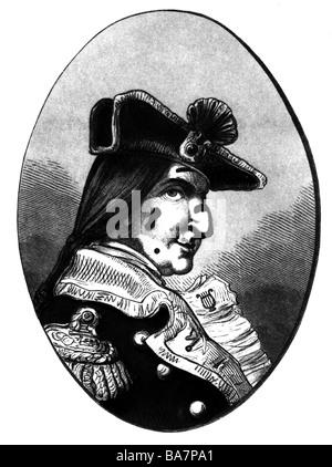 Münchhausen, Baron Karl Friedrich Hieronymus, Freiherr von, 11.5.1720 - 22.2.1797, Porträt, Holzgravur, Munchhausen, - Stockfoto
