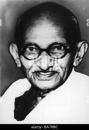 Gandhi, Mohandas Karamchand genannt Mahatma, 2.10.1869 - 30.1.1948, indischer Politiker, Porträt, 1930er Jahre, - Stockfoto