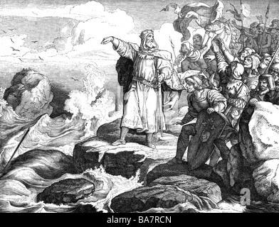 Otto I. 'der Große', 23.11.912 - 7.5.973, Heiliger römischer Kaiser 2.2.962 - 7.5.973, am Ottesund 947, Holzgravur - Stockfoto