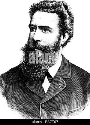 Roentgen, Wilhelm Conrad, 27.3.1845 - 10.2.1923, deutscher Physiker, Porträt, zeitgenössische Holzgravur, - Stockfoto
