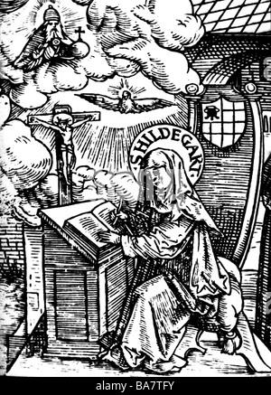 Hildegard von Bingen, ca. 1098 - 19.9.1179, Deutsche Heiliger, Nonne, Mystiker, Mittelalterholzschnitt, 1524, - Stockfoto