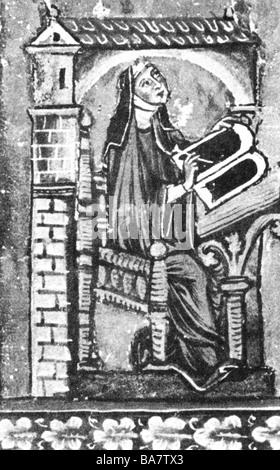 """Hildegard von Bingen, ca. 1098 - 19.9.1179, Deutsche Heiliger, Nonne, Mystiker, nach Miniatur aus """"Liber divinorum - Stockfoto"""