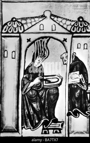 Hildegard von Bingen, ca. 1098 - 19.9.1179, deutsche Heilige, nach Miniatur aus dem Kodex Hildegard, - Stockfoto
