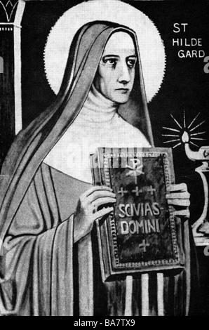 """Hildegard von Bingen, ca. 1098 - 19.9.1179, deutsche Saint, Nonne, Mystikerin, mit Buch """"Scivias Domini"""", Abbildung - Stockfoto"""