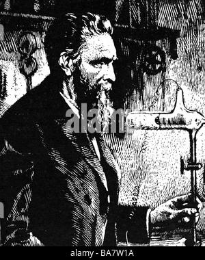 Roentgen, Wilhelm Conrad, 27.3.229 - 10.2.1923, deutscher Physiker, halbe Länge, während eines Experiments, Holzschnitt, - Stockfoto