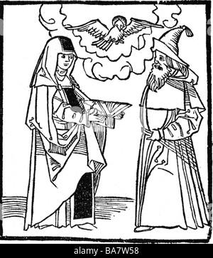 Hildegard von Bingen, ca. 1098 - 19.9.1179, Deutsche Heiliger, Nonne, Mystiker, Holzschnitt, Anfang 16. Jahrhundert, - Stockfoto