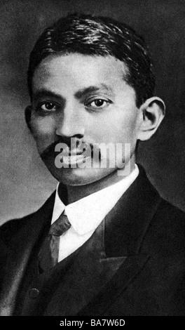 Mohandas Karamchand Gandhi, genannt Mahatma, 2.10.1869 - 30.1.1948, Indischer Politiker, Porträt, als junger Mann,, - Stockfoto