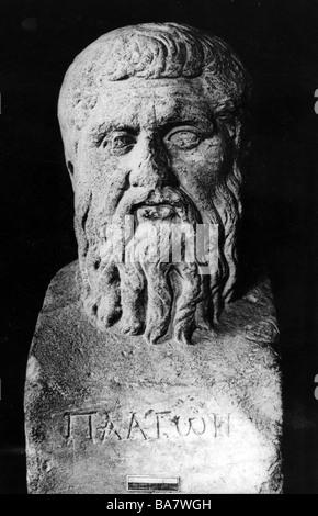 Platon, 427 v. Chr. - 347 v. Chr., griechische Philosoph, Porträt, Antike, Büste, undatiert, - Stockfoto