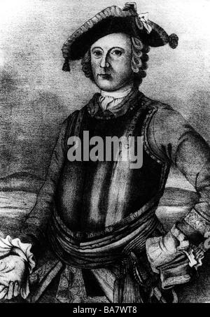 Münchhausen, Baron Karl Friedrich Hieronymus, Freiherr von, 11.5.1720 - 22.2.1797, halbe Länge, lithographisch, ca. 1870, nach der Malerei,