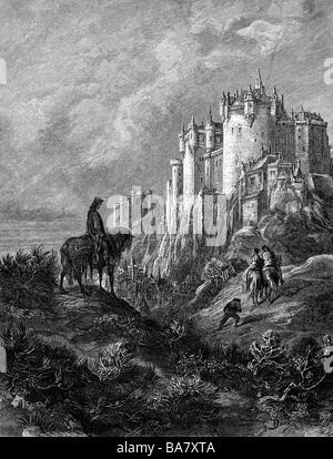 """Tennyson, Alfred, 1st Baron, 6.8. 1809 - 6.10.1892, britischer Autor/Verfasser, """"Idyllen des Königs""""), 1859, Szene, - Stockfoto"""