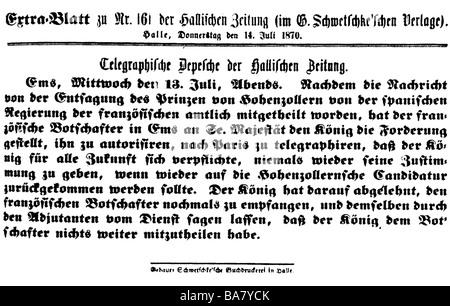 """Ereignisse, Französisch-Französischer Krieg 1870 - 1871, Ems-Versand, verkürzte Fassung, """"Hallische Zeitung"""", 13.7.1870, Stockfoto"""