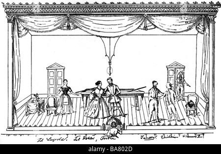 Lortzing, Albert, 23.10.1801 - 21.01.1851, deutscher Komponist, Werke, Oper 'Der Wildschuetz' (Der Poacher), Billardszene, - Stockfoto