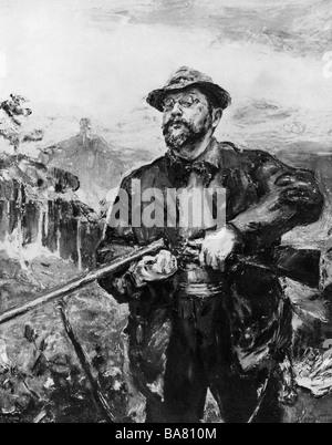 Slevogt, Max, 8.10.88 - 20.9.1932, deutscher Maler und Grafiker, halbe Länge, Selbstporträt als Jäger, 1907, - Stockfoto