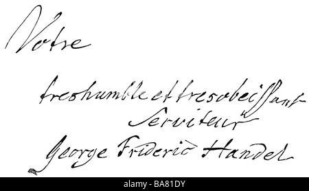 Händel, George Frederic, 23.2.1685 - 14.4.1759, deutscher Komponist, Handschrift, Holzgravur, 19. Jahrhundert, - Stockfoto