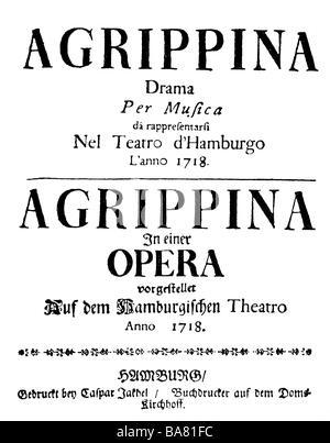 Händel, George Frederic, 23.2.1685 - 14.4.1759, deutscher Komponist, Werke, Oper 'Agrippina' (1709), Aufführung, - Stockfoto