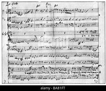 """Händel, George Frederic, 23.2.1685 - 14.4.1759, deutscher Komponist, Werke, Oper """"erse"""" (1738), Largo, Notenblatt, - Stockfoto"""