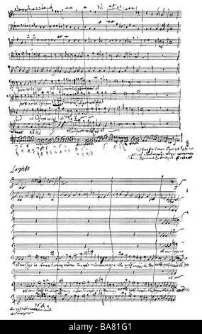 """Händel, George Frederic, 23.2.1685 - 14.4.1759, deutscher Komponist, Werke, Oratorium """"Jephtha"""" (1751), Notenblatt, - Stockfoto"""