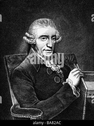 Haydn, Joseph, 31.3.1732 - 31.5.1809, österreichischer Komponist, halbe Länge, Holzgravur, 19. Jahrhundert, - Stockfoto