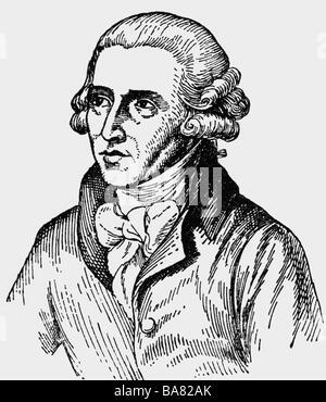 Haydn, Joseph, 31.3.1732 - 31.5.1809, österreichischer Komponist, Porträt, Tuschezeichnung, 20. Jahrhundert, - Stockfoto