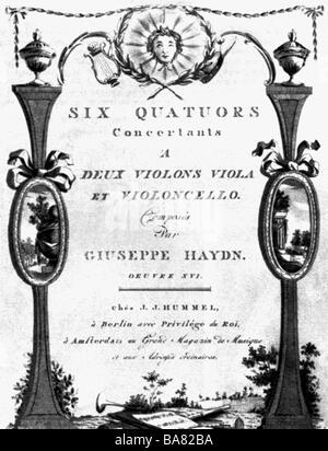 """Haydn, Joseph, 31.3.1732 - 31.5.1809, österreichischer Komponist, Werke, """"Russische Quartette"""", Titel, Berlin, 171, - Stockfoto"""